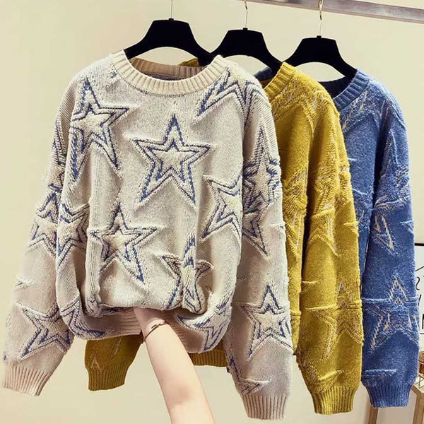 Ins Hot Round Neck Leisure Stars Knit Sweater 350g