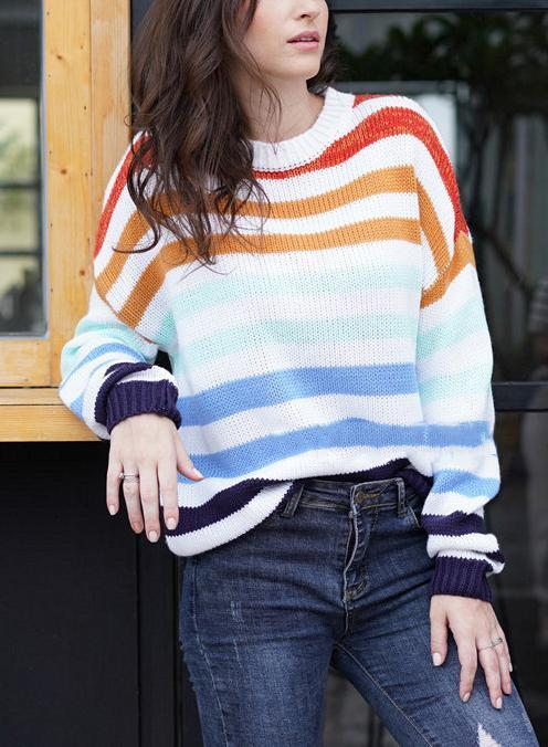 Women Rainbow Contrast Color Knit Loose Sweater