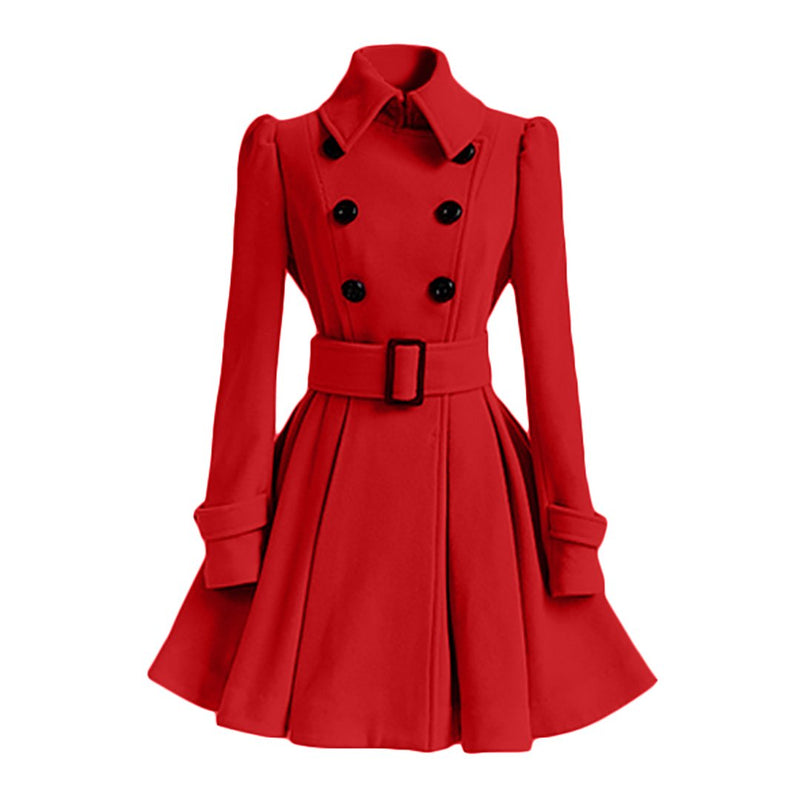 Ins Hot Winter Swing Woolen Trench Coat with Belt