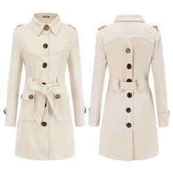 Ins New Winter Buttons Slit Woolen Trench Coat with Belt