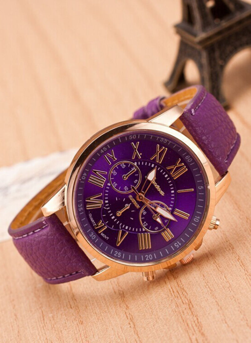 Double-layer Ladies Quartz Fashion Leather Strap Wrist Watch