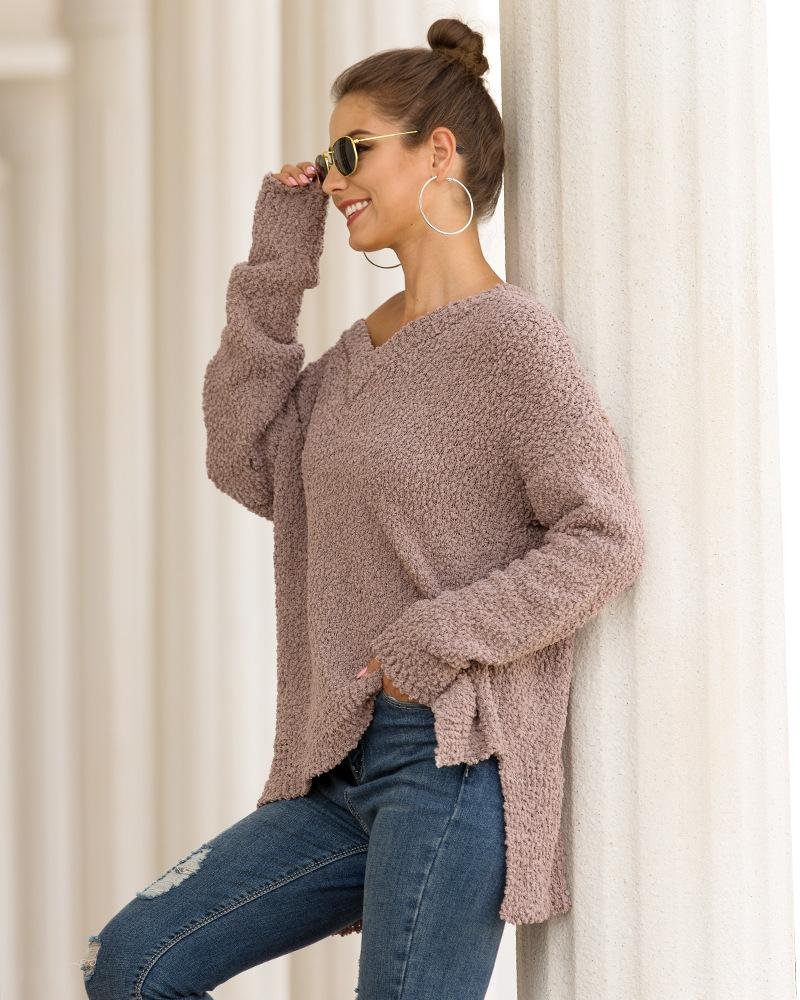 Ins Stylish V-neck Granular Velvet Slit Knit Sweater