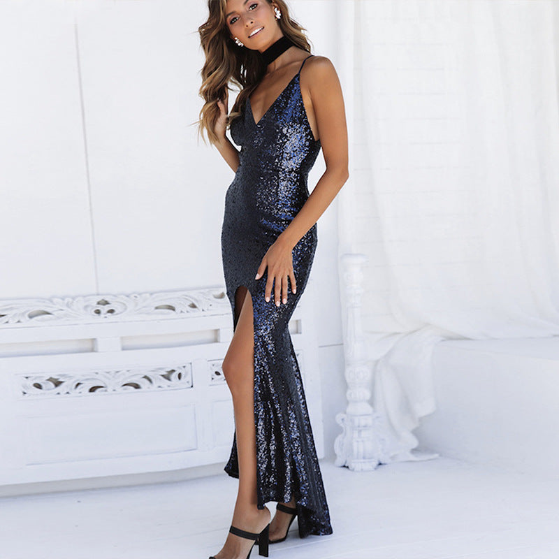 Women Elegant Bodycon Sequin High Cutout Long Evening Dress