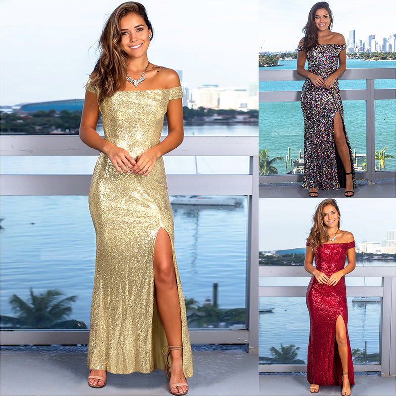Women Elegant Off Shoulder Sequin High Slit Long Evening Dress