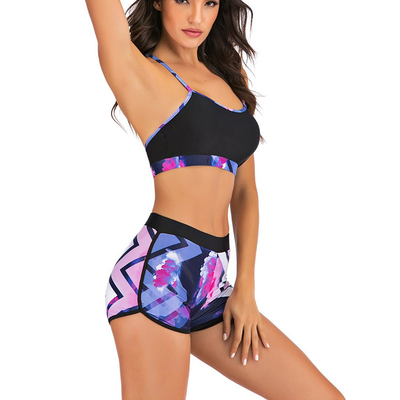 Women Print Conservative Two Pieces Swimsuit Bikini Set