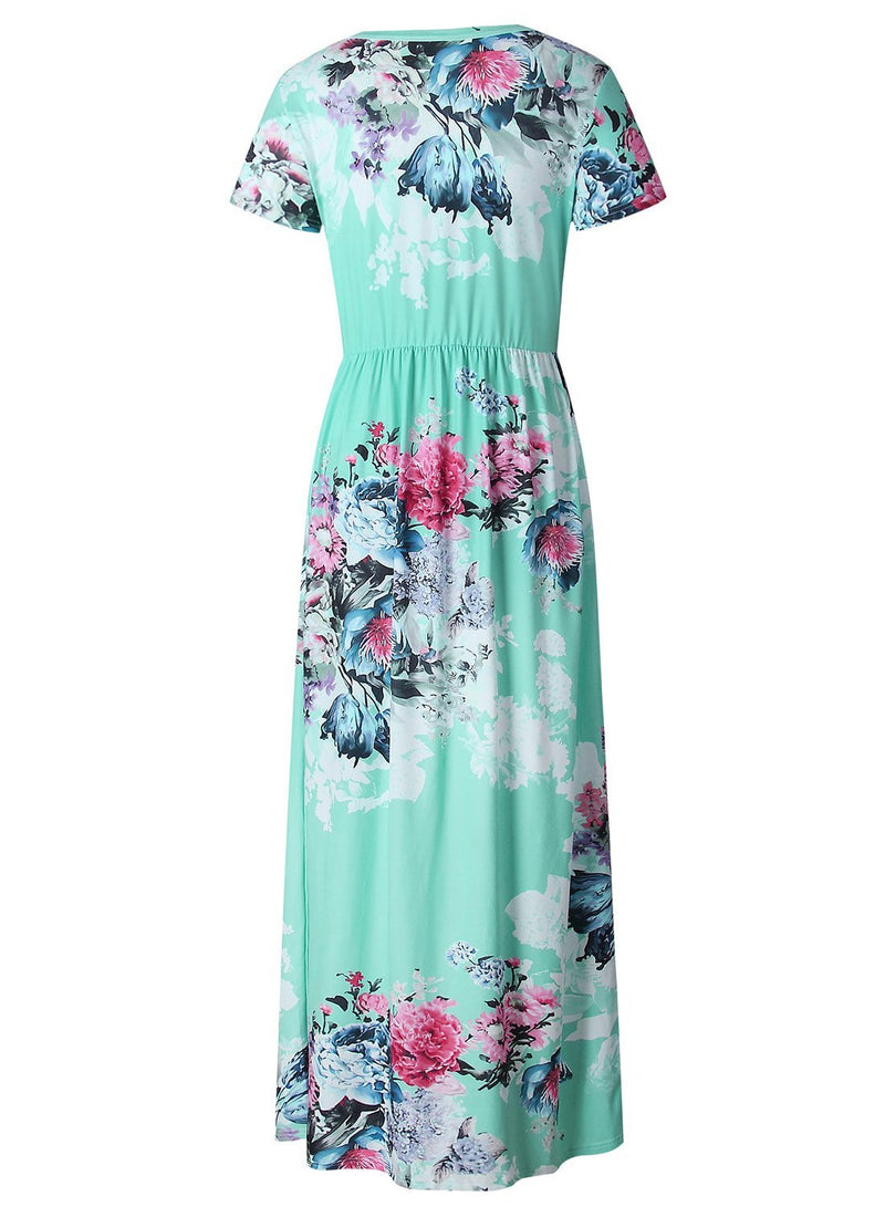 Pin Hot Floral Print Round Neck Short Sleeve High Waist Maxi Dress