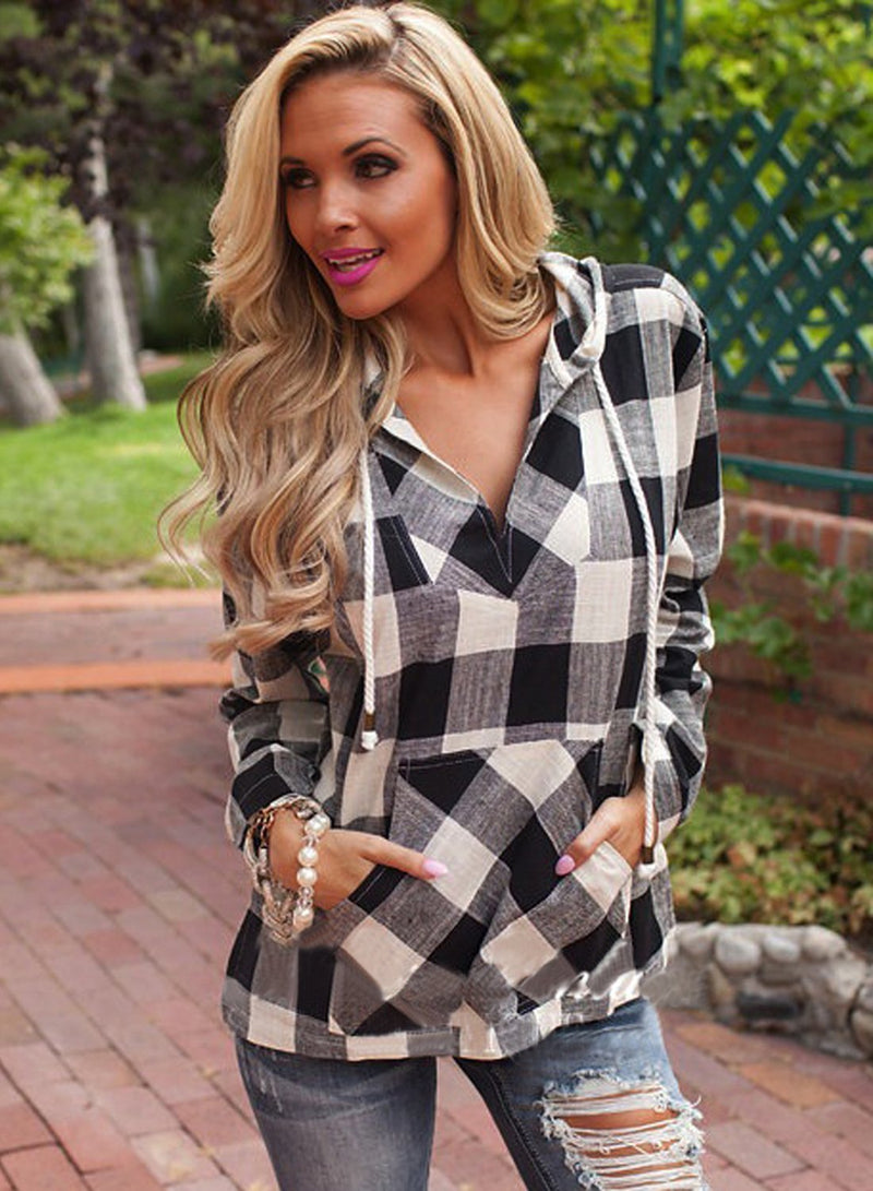 Women's Long Sleeve Pullover Plaid Hoodie Shirt