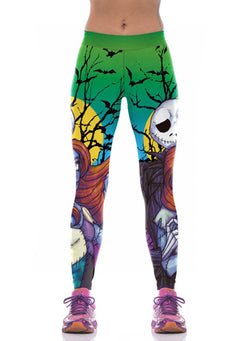Women's Elastic Waist Halloween Skull Printed Leggings