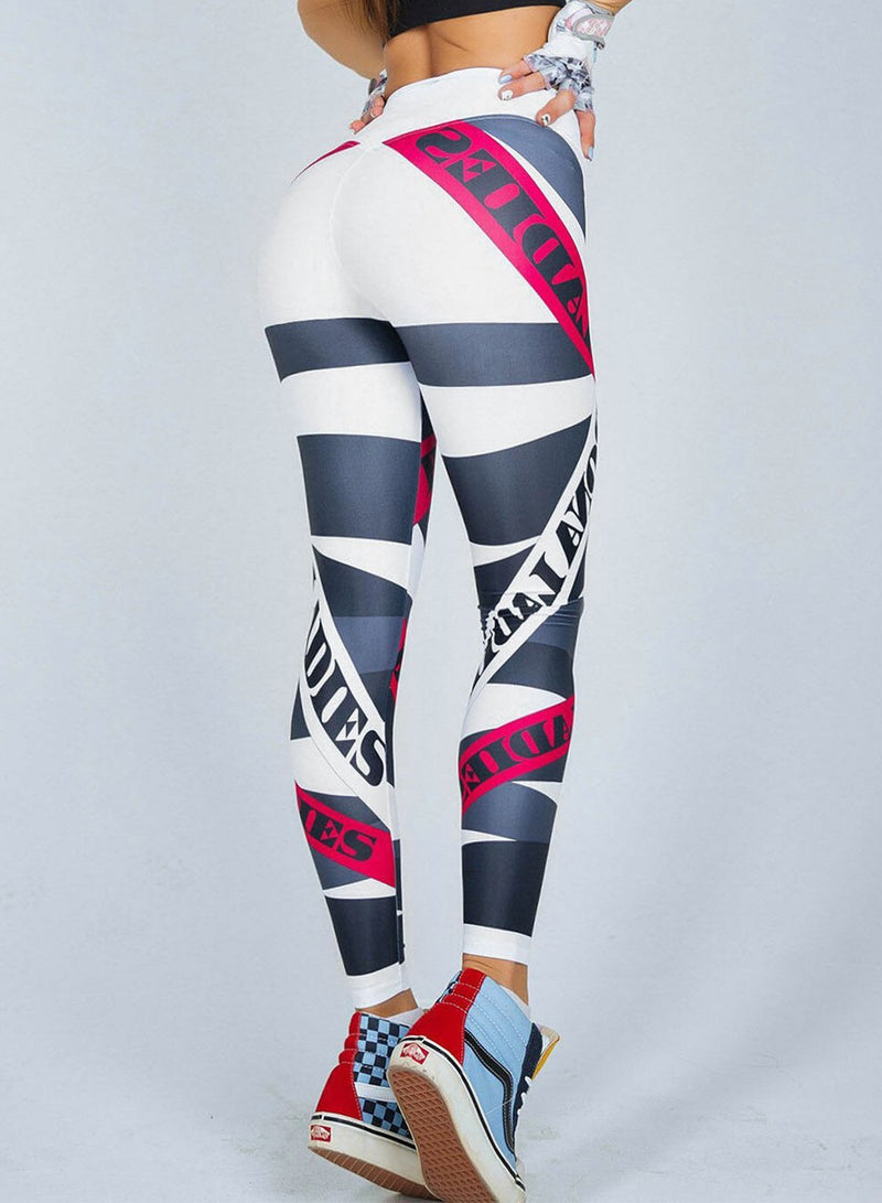 Women's High Waist Letters Printed Sports Leggings