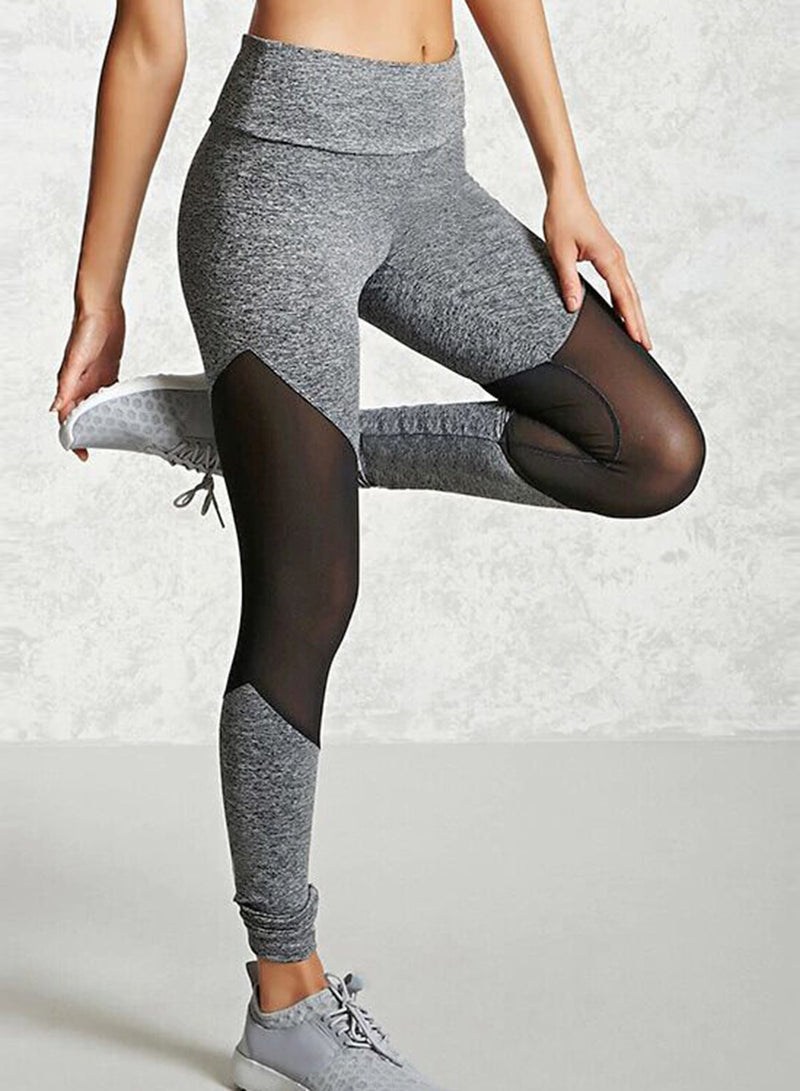 Women's Casual Slim Mesh Panel Spicing High Waist Yoga Leggings