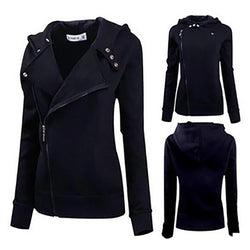 Women's Casual Solid Color Slim Fit Zip up Hoodie Jacket