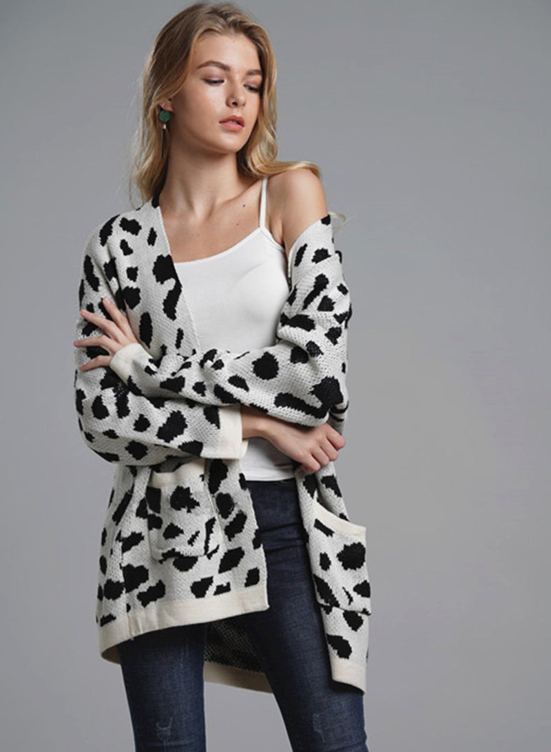 Women Leopard OL Knit Long Sleeve Loose Cardigan Sweater