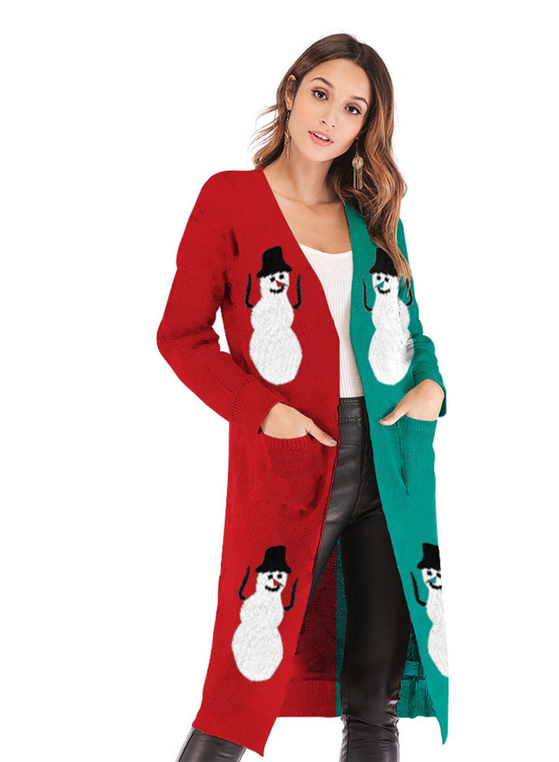 Women Christmas Snowman Deer Printed Pocket Cardigan