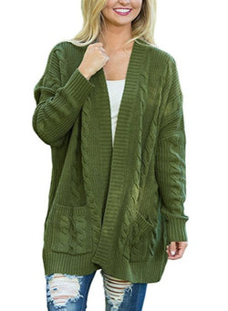 Women Fashion Medium Double Pockets Twist Knit Cardigan