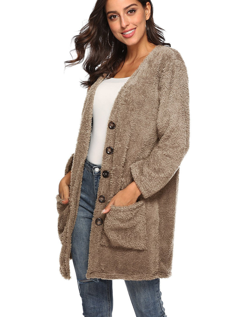 Women Large Double Pockets Thick Plus Fleece Cardigan