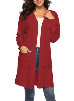 Women Casual Split Large Pockets Rabbit Plush Cardigan