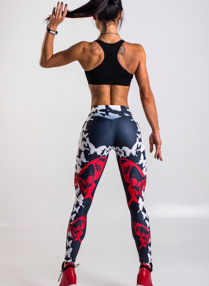 Butterfly Digital Print Hip-up Elastic High Waist Yoga Leggings
