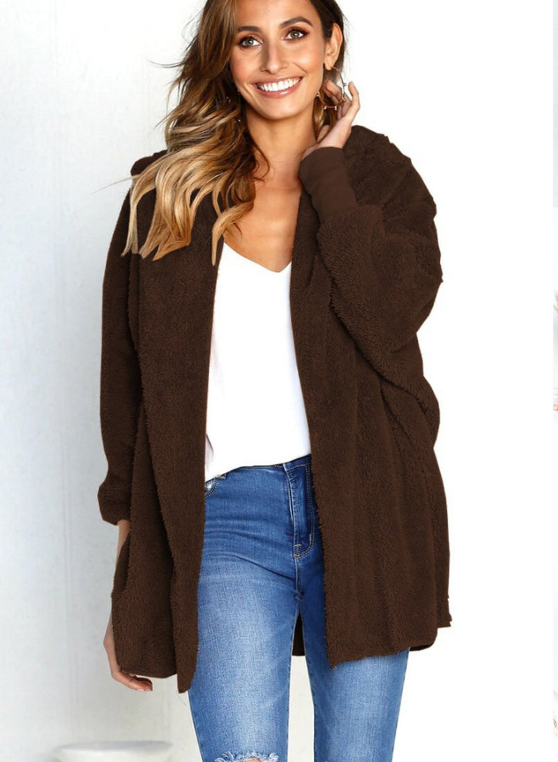 Women Fashion Double Plush Long Sleeve Hooded Cardigan