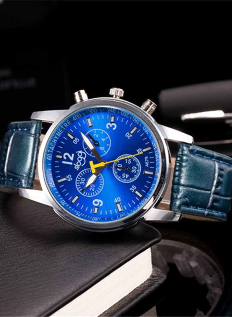 Ladies Fashion Leather Strap Three-eyes Quartz Casual Wrist Watch