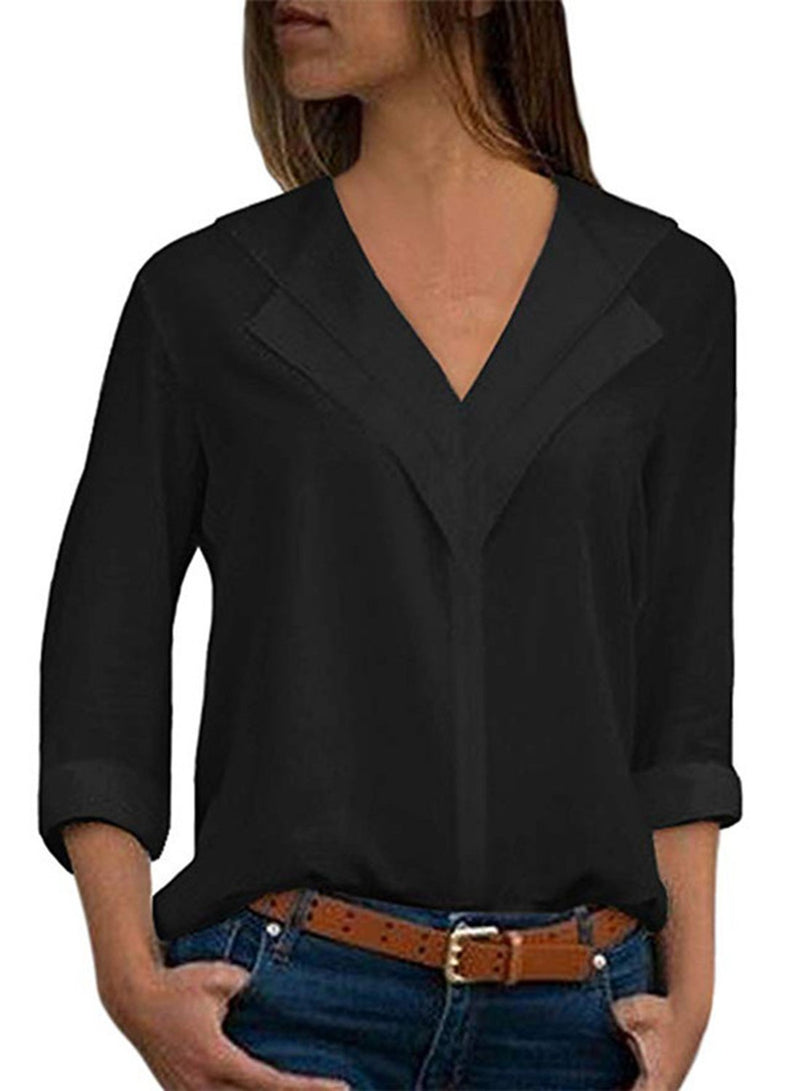 Solid color V-neck Long-sleeved Chiffon Blouse Shirt