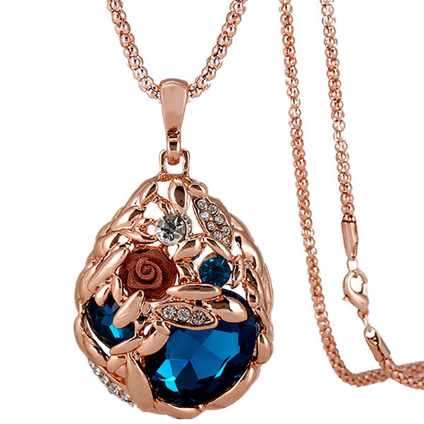 Sweater Necklace For Women Long Chain Pendant Necklace Rose Gold Crystal