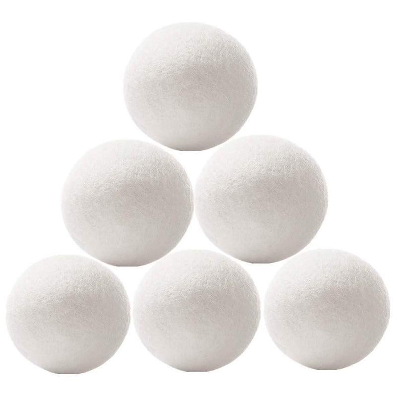 Wool Dryer Balls,  7.5cm 6-Pack Reusable Fabric Softener, 100% New Zealand Organic Wool