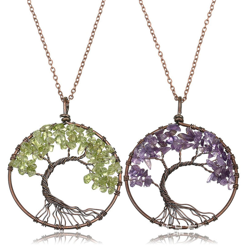 Tree of Life Pendant Amethyst Rose Crystal Necklace Gemstone Chakra Jewelry