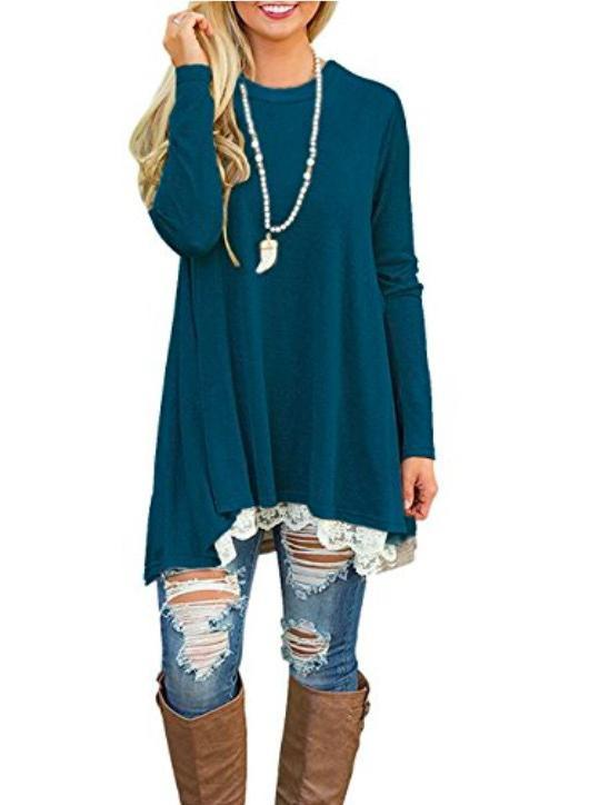 Women Round Neck Lace Stitching Long Sleeve Day Dress