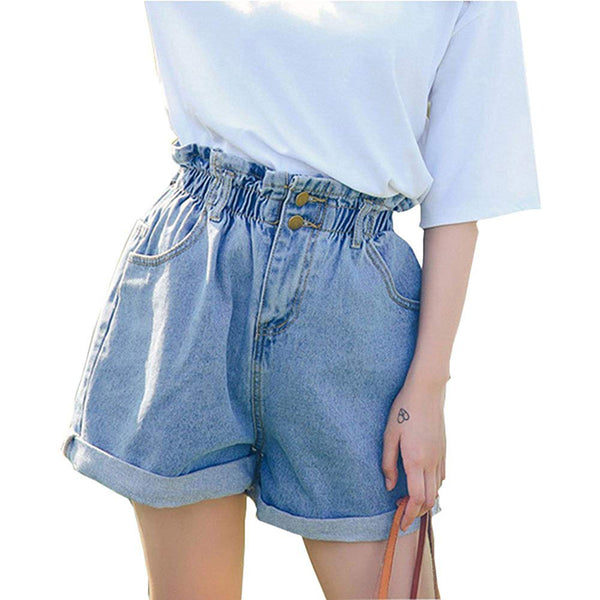 High Waist Denim Rolled Hem Jean Shorts