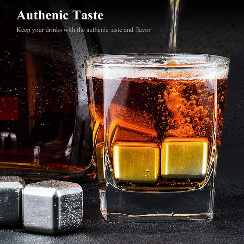 Stainless Steel Reusable Dry Ice Cubes Chilling Stones with Tongs for Whiskey Wine