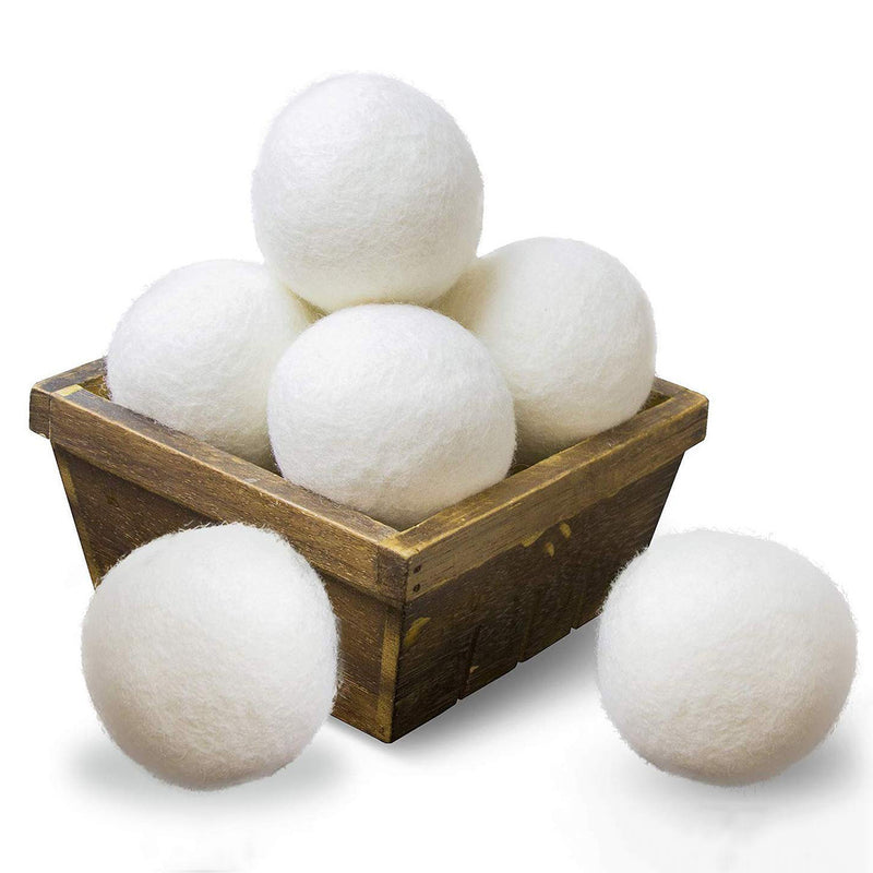 Wool Dryer Balls, 8cm 6-Pack Reusable Fabric Softener, 100% New Zealand Organic Wool