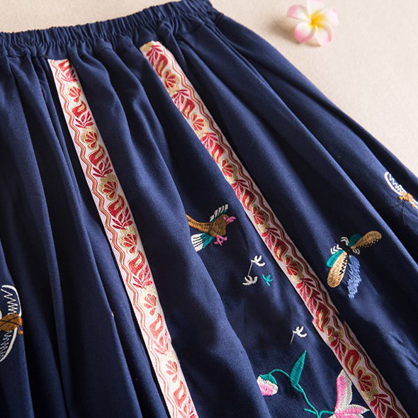 Vintage Ethnic Summer Pool Embroidered Maxi Skirt