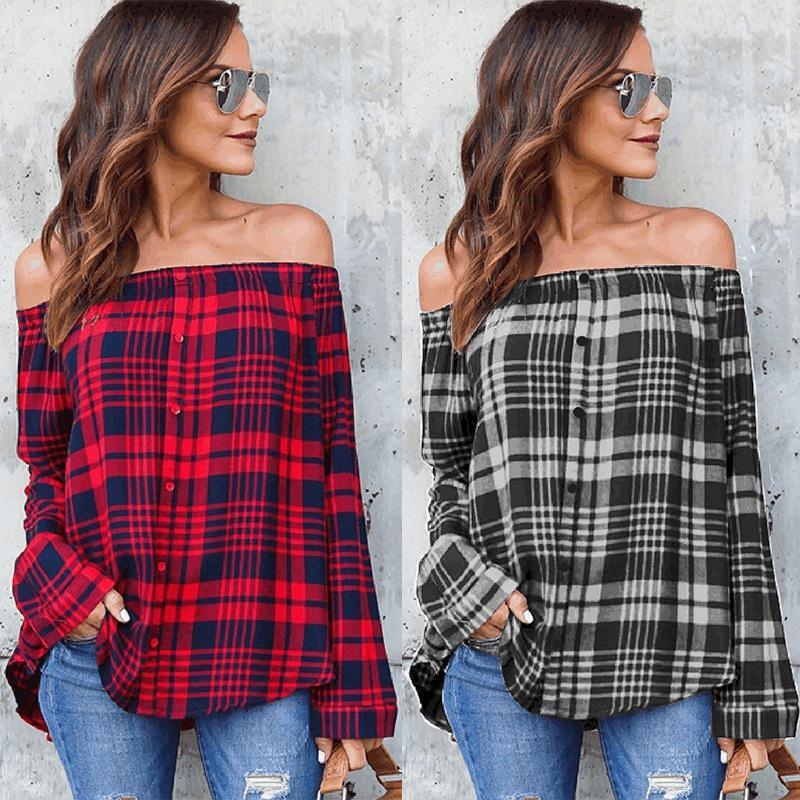 Women's Off Shoulder Long Sleeve Button Down Plaid Shirt
