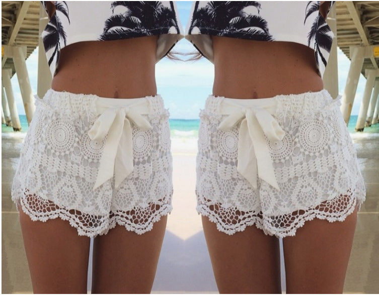Lace Bow Crochet Beach Mini Shorts