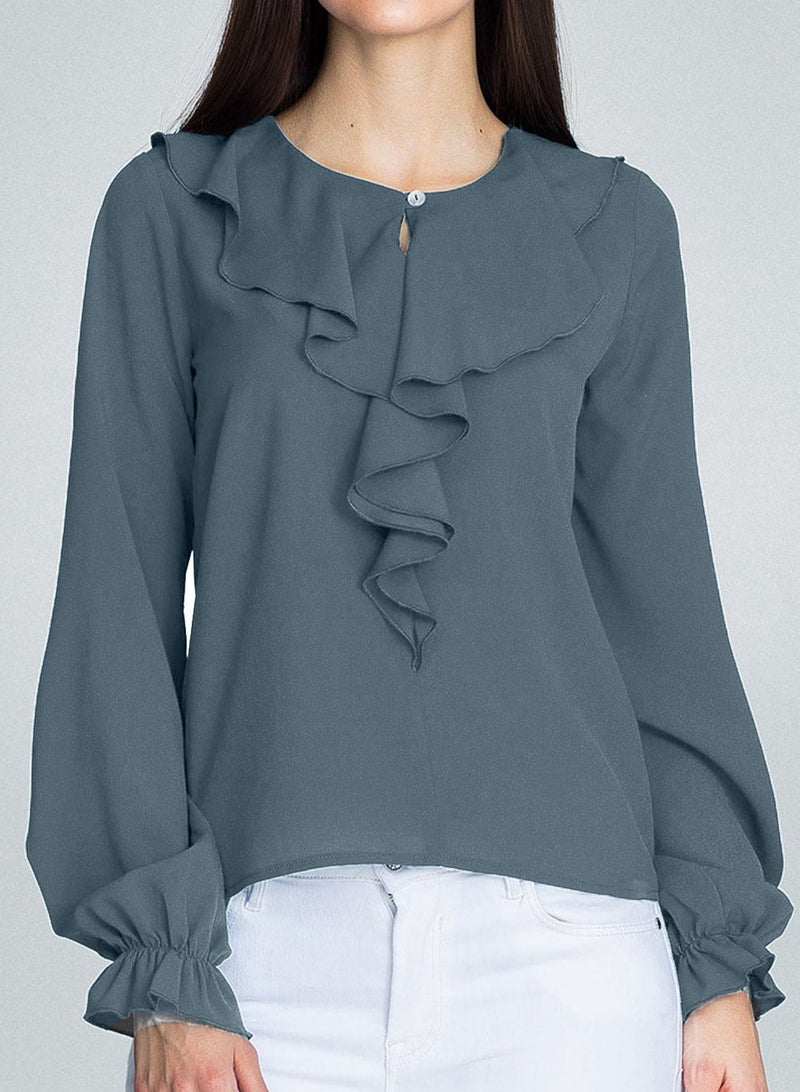 Solid Color Round Neck Ruffled Long Sleeve Chiffon Top Blouse