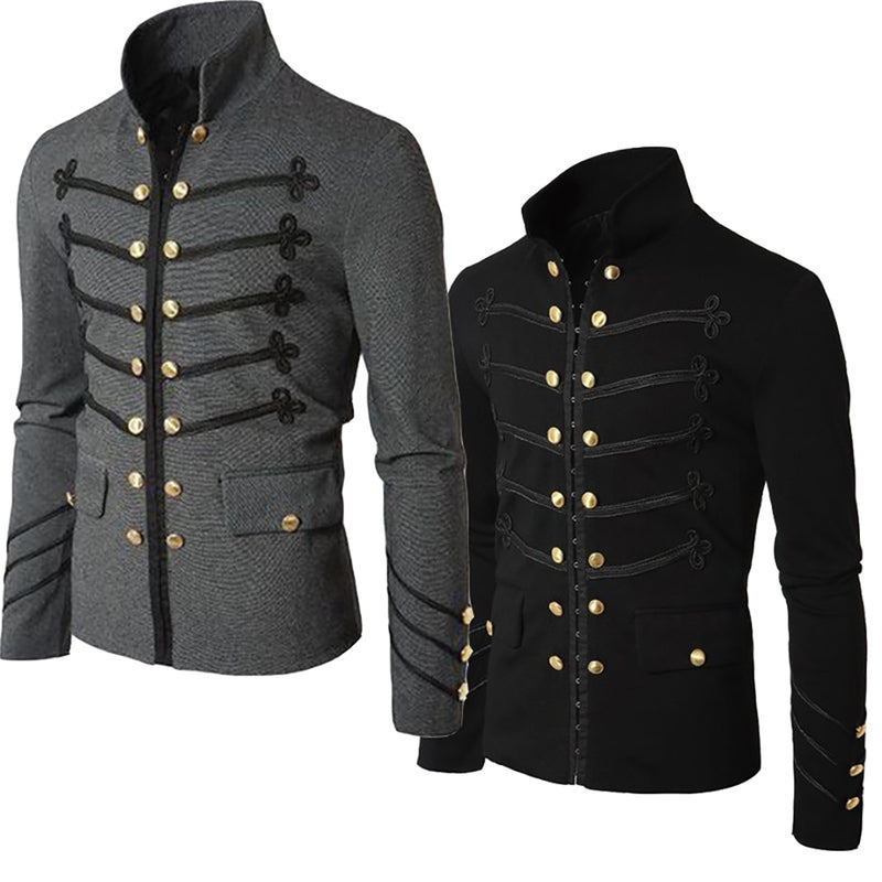 Men's Stylish Stand Collar Jacket Buttons Pockets Cardigan