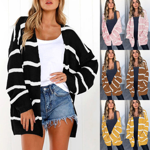 Women Fashion Striped Pocket Cardigan sweater