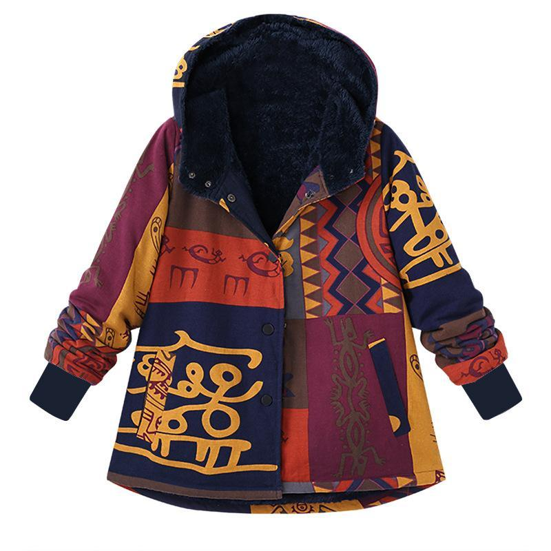 Women Colorful Single Breasted Plus Size Velvet Hooded Coat