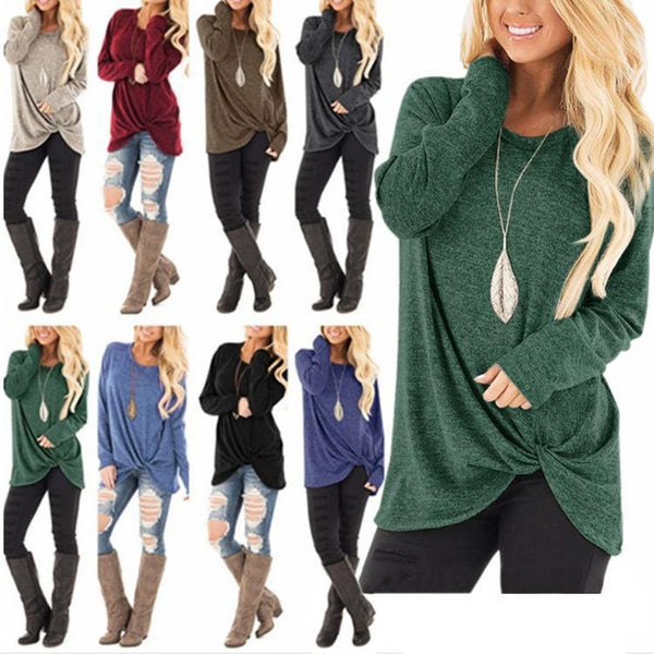 Women Solid Color Knot Long Sleeve Loose T-shirt