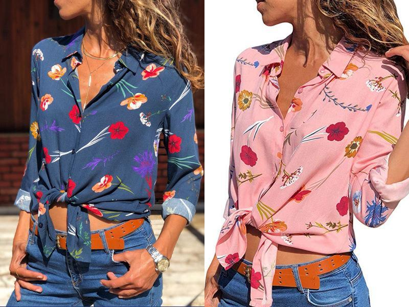 Floral V-neck Long Sleeved Shirt Blouse