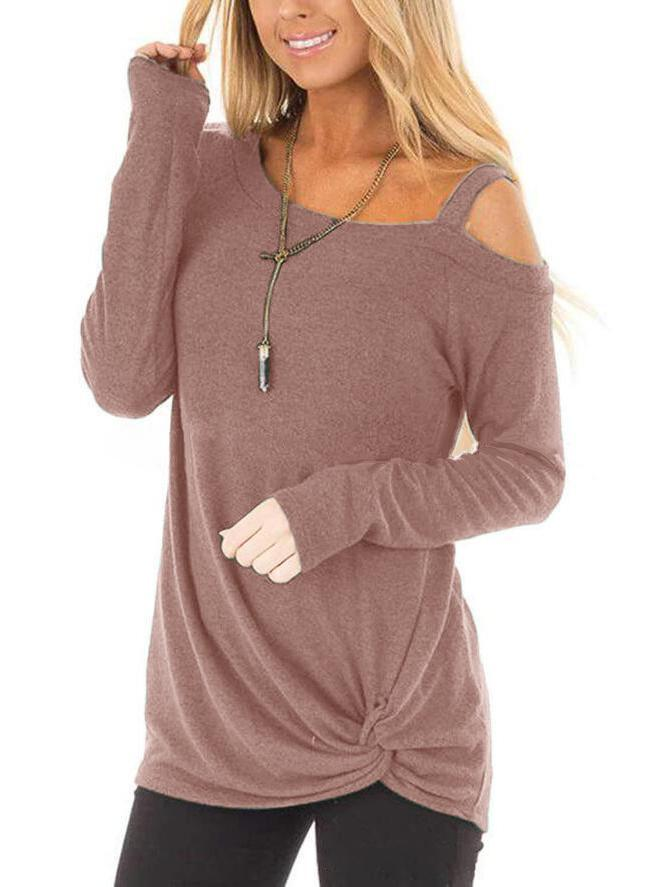 Women Shoulder Cutout Knot Hem Long Sleeve Loose T-shirt