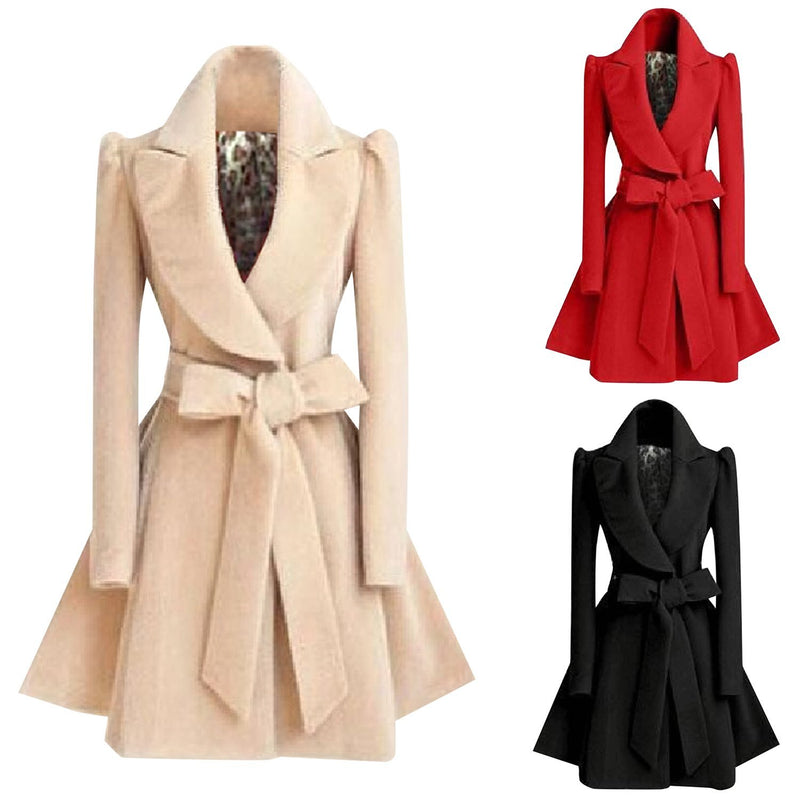 Women's Fashion Winter Swing Trench Coat with Belt