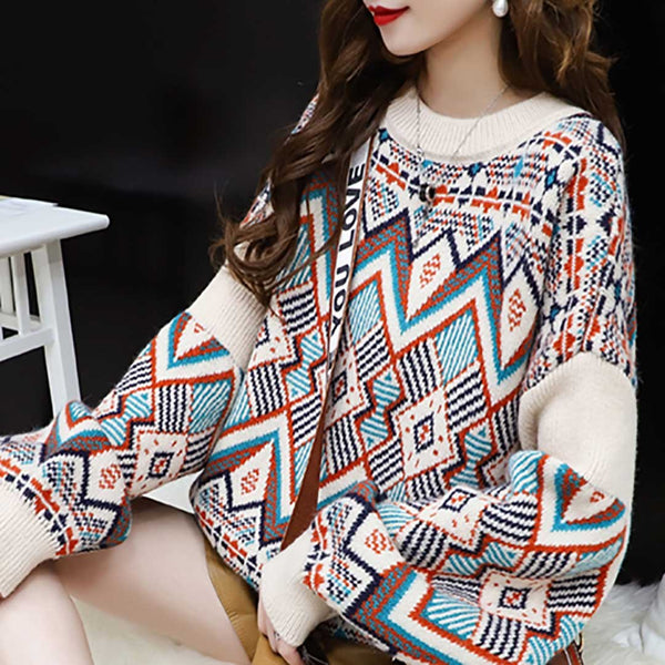 Women Ins Fashion Pattern Round Neck Puff Sleeve Knit Sweater