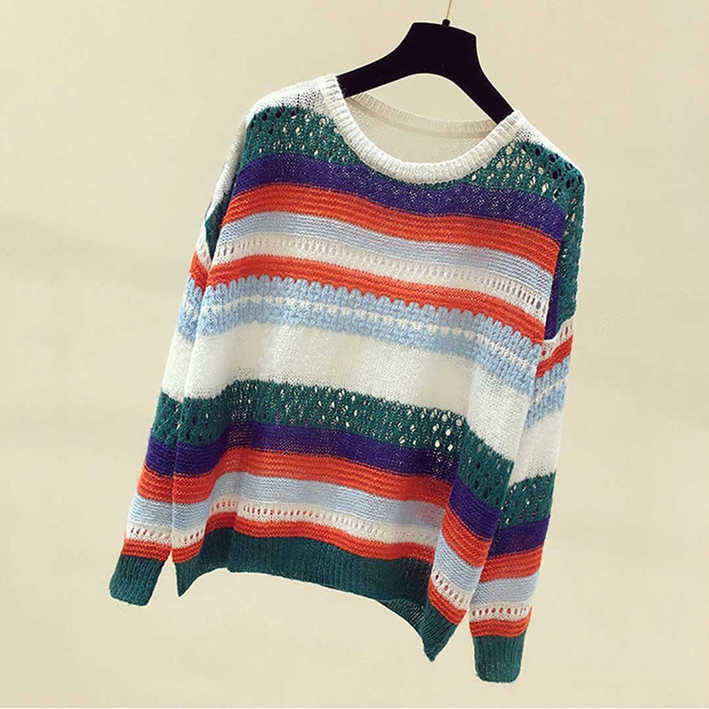 Women Round Neck Hollow Long Sleeve Leisure Knit Sweater