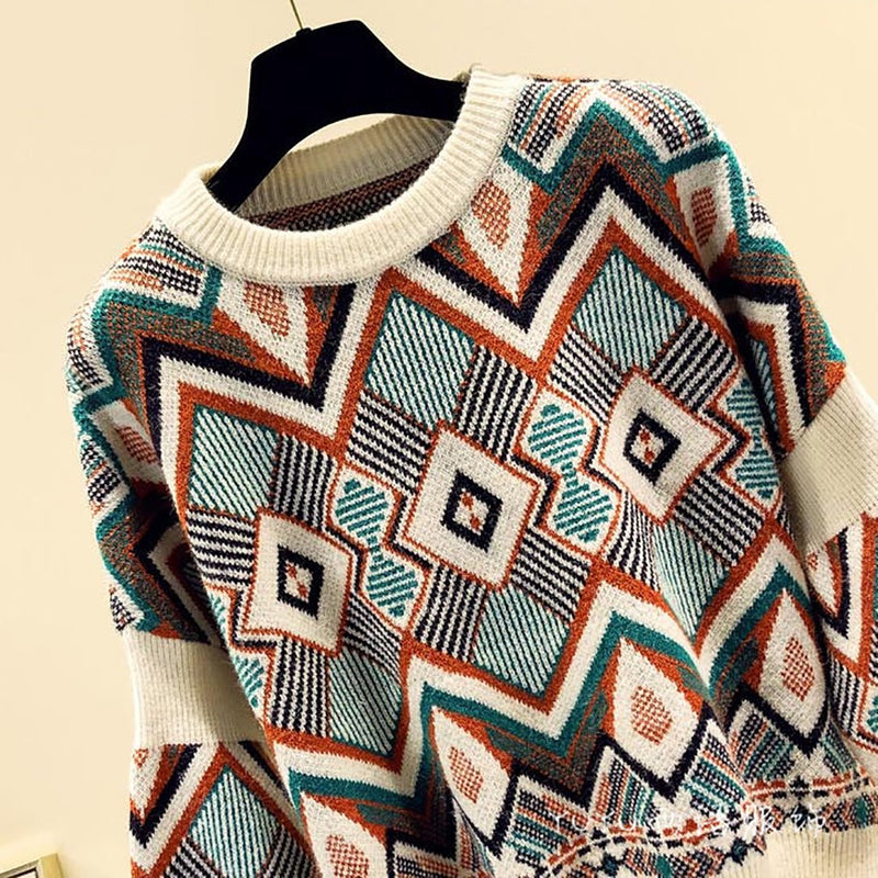 Ins Hot Bohemian Style Knit Pullover Leisure Sweater