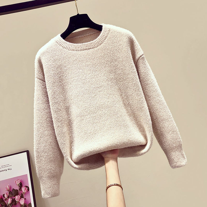 Pin Hot Round Neck Chenille Loose Leisure Sweater