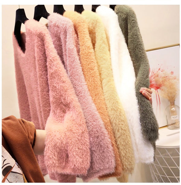 Ins Web Celeb V-neck Mohair Leisure Sweater