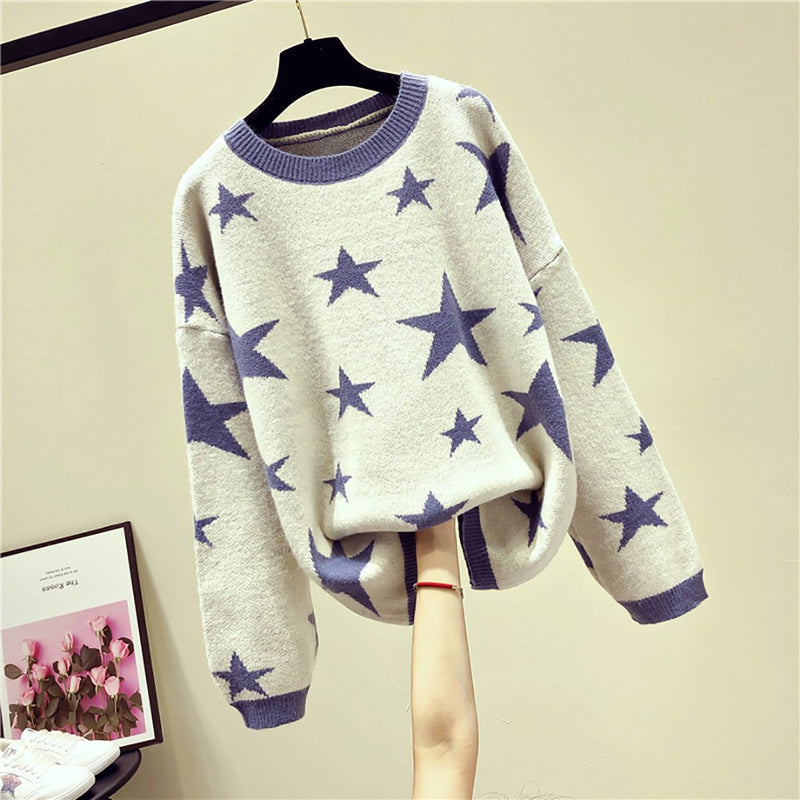 Ins Hot Round Neck Stars Print Knit Leisure Sweater