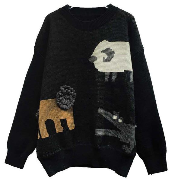 Women Animals Print Round Neck Leisure Knit Sweater