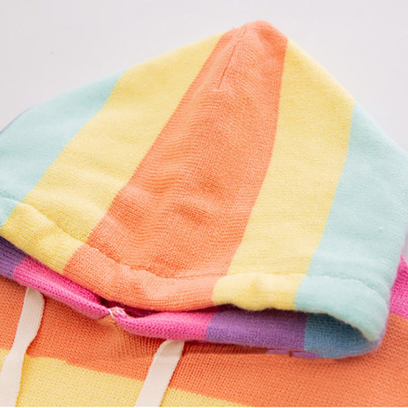Women Ins Hot Rainbow Stripes Hooded Knit Sweater